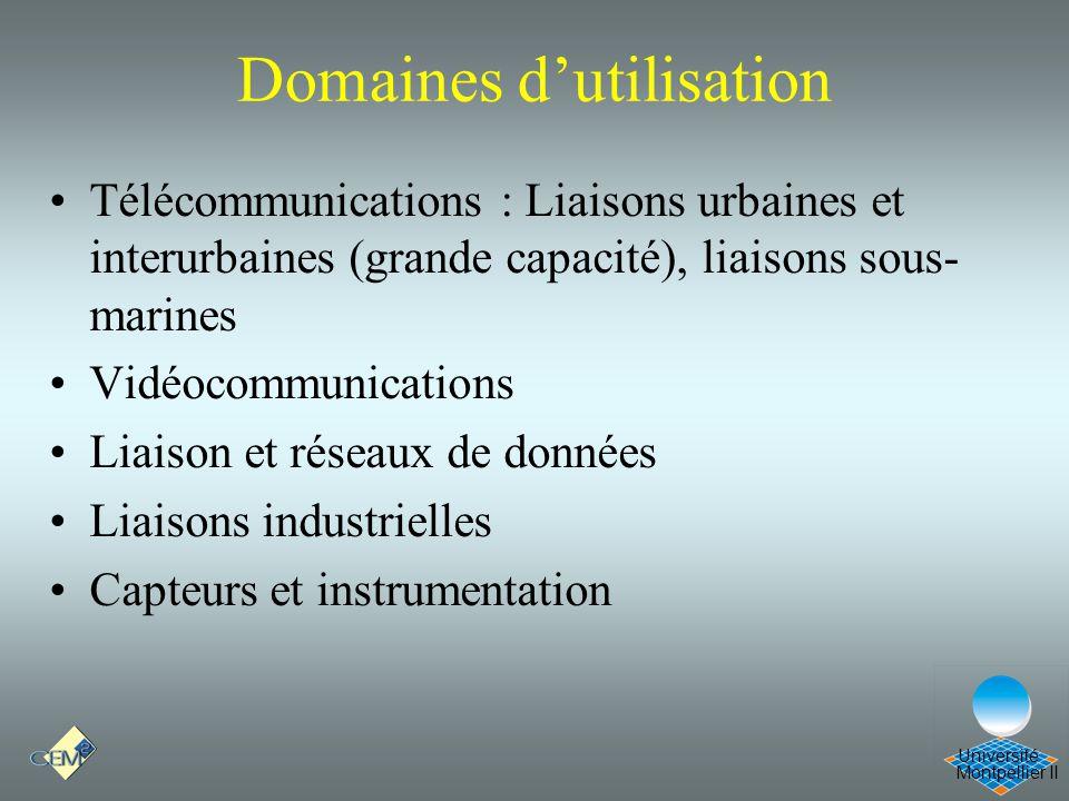 Montpellier II Université Domaines dutilisation Télécommunications : Liaisons urbaines et interurbaines (grande capacité), liaisons sous- marines Vidé