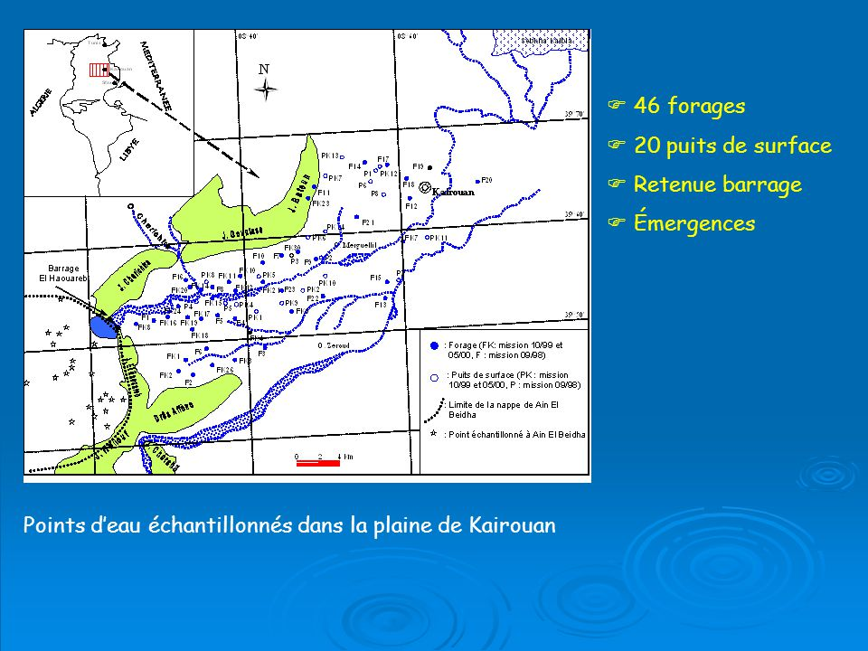 Points deau échantillonnés dans la plaine de Kairouan 46 forages 20 puits de surface Retenue barrage Émergences
