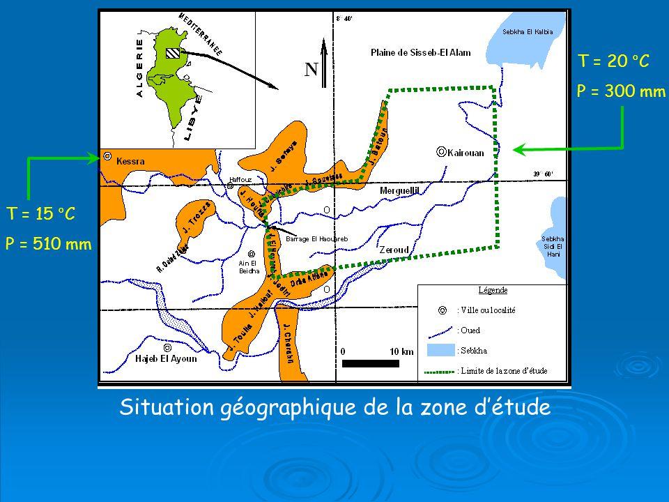 T = 15 °C P = 510 mm T = 20 °C P = 300 mm Situation géographique de la zone détude