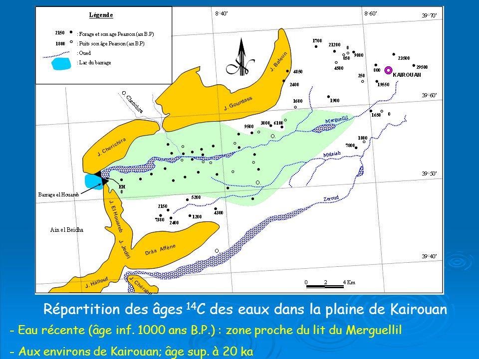 Répartition des âges 14 C des eaux dans la plaine de Kairouan - Eau récente (âge inf.