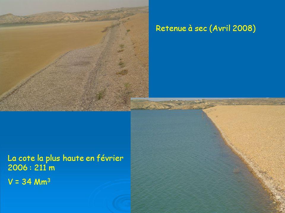 Retenue à sec (Avril 2008) La cote la plus haute en février 2006 : 211 m V = 34 Mm 3