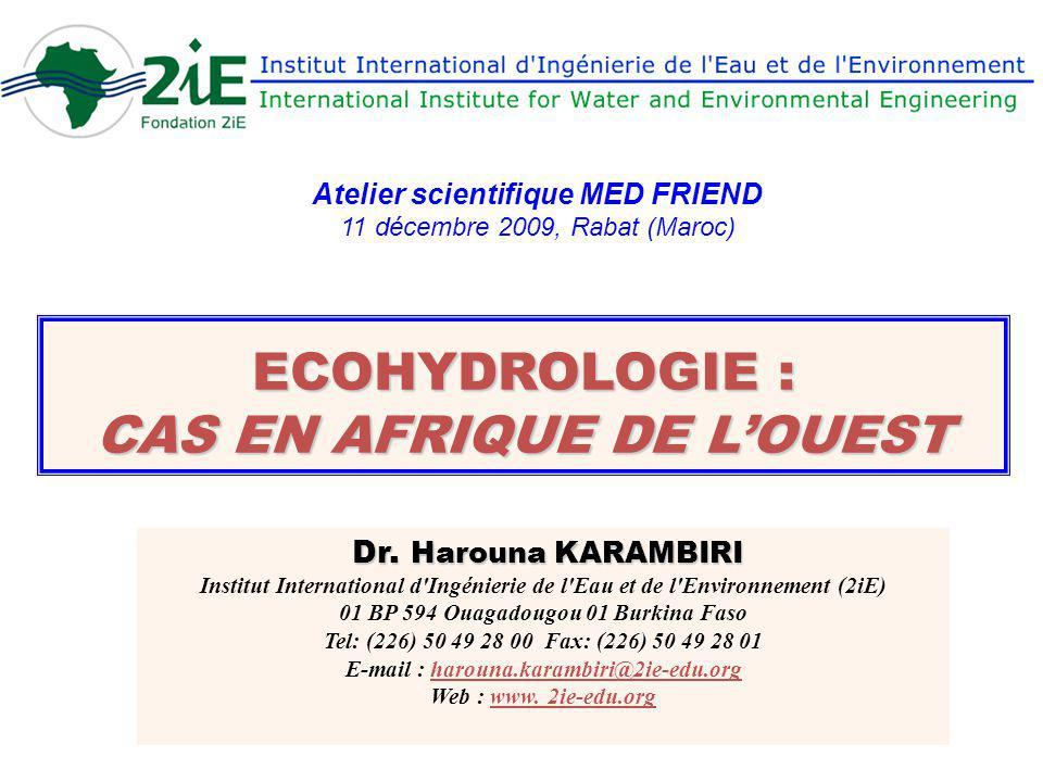 ECOHYDROLOGIE : CAS EN AFRIQUE DE LOUEST Dr. Harouna KARAMBIRI Dr. Harouna KARAMBIRI Institut International d'Ingénierie de l'Eau et de l'Environnemen
