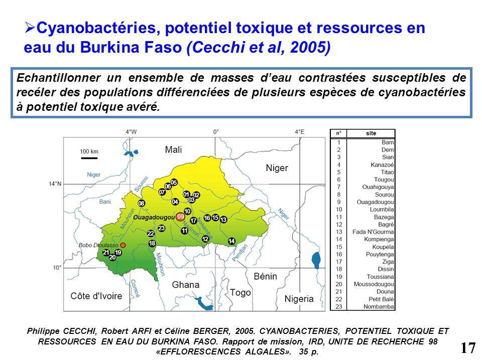 Cyanobactéries, potentiel toxique et ressources en eau du Burkina Faso (Cecchi et al, 2005) Philippe CECCHI, Robert ARFI et Céline BERGER, 2005. CYANO