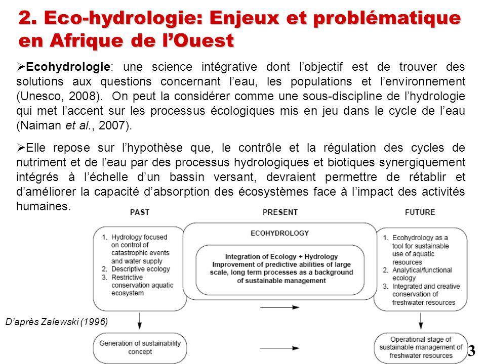 2. Eco-hydrologie: Enjeux et problématique en Afrique de lOuest Ecohydrologie: une science intégrative dont lobjectif est de trouver des solutions aux