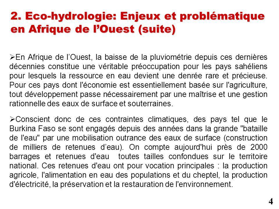 2. Eco-hydrologie: Enjeux et problématique en Afrique de lOuest (suite) En Afrique de lOuest, la baisse de la pluviométrie depuis ces dernières décenn