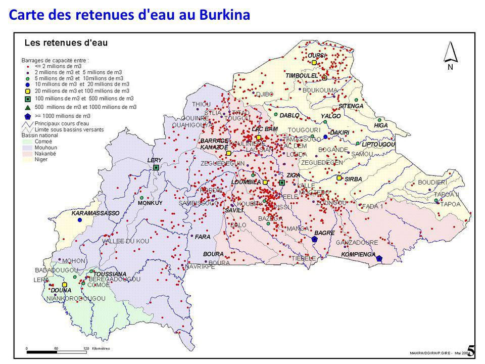 Carte des retenues d'eau au Burkina 5
