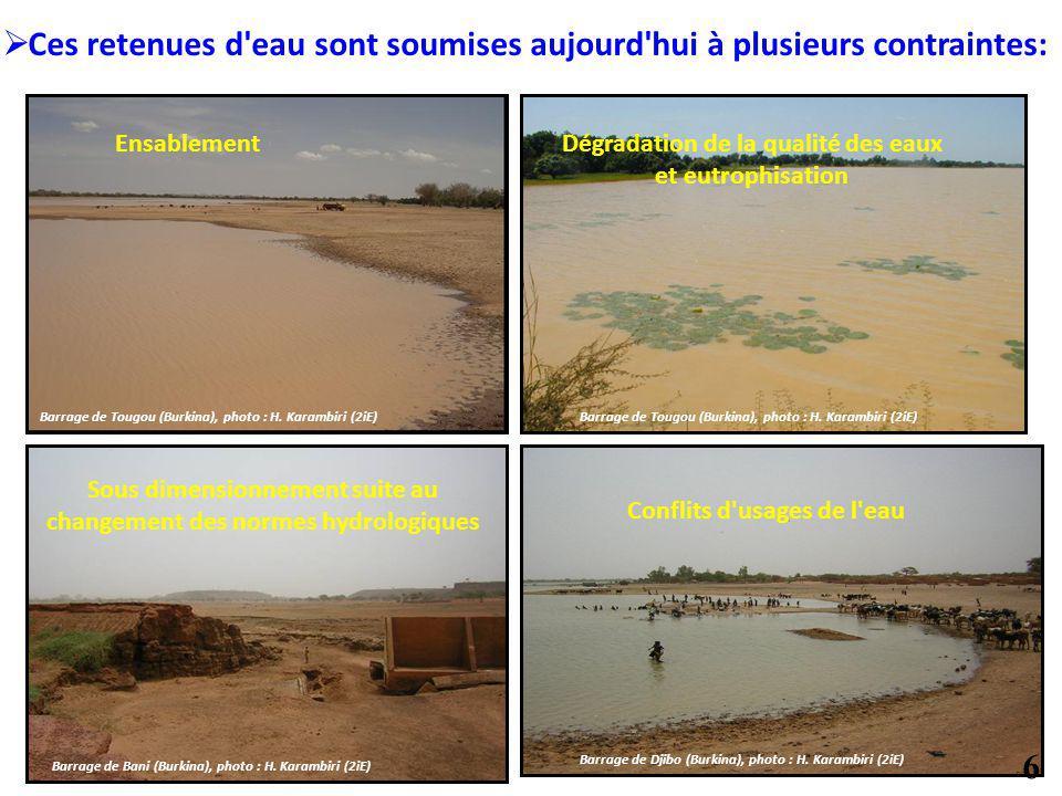 EnsablementDégradation de la qualité des eaux et eutrophisation Sous dimensionnement suite au changement des normes hydrologiques Conflits d'usages de