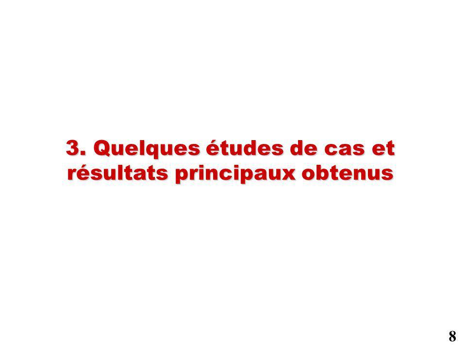 3. Quelques études de cas et résultats principaux obtenus 8