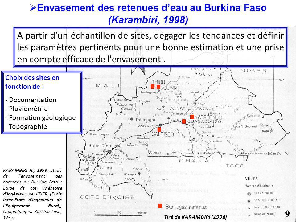 Choix des sites en fonction de : - Documentation - Pluviométrie - Formation géologique - Topographie Tiré de KARAMBIRI (1998) KARAMBIRI H., 1998. Étud