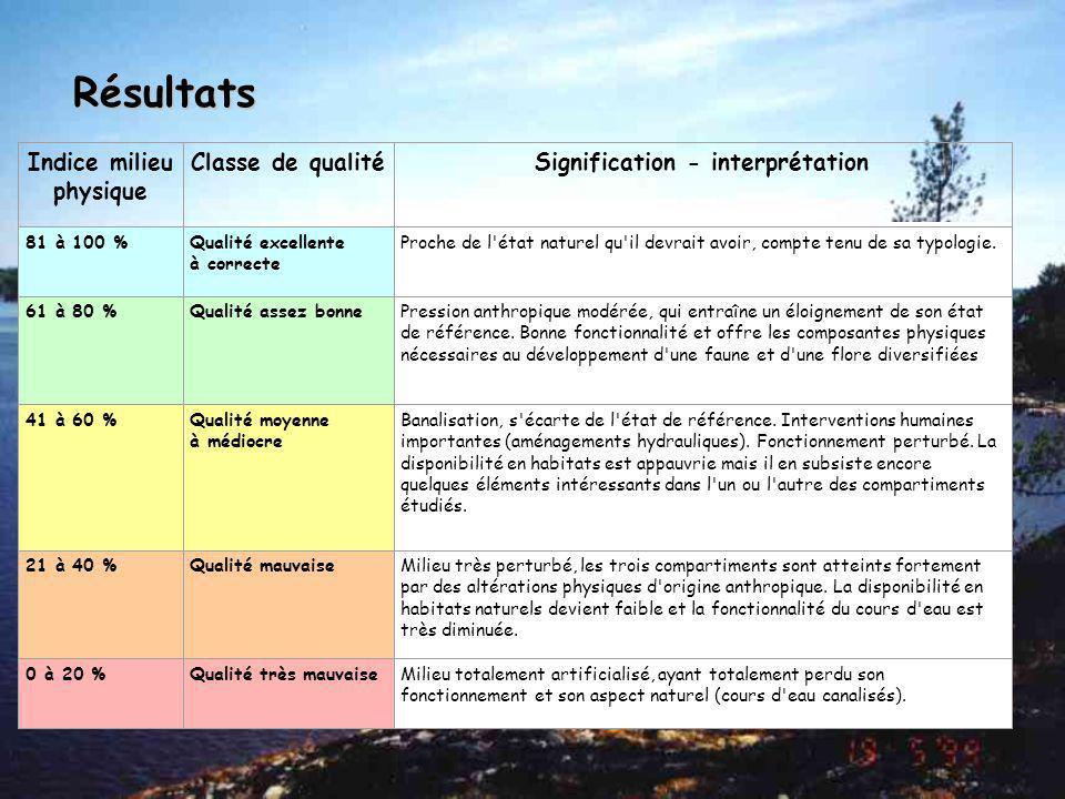 Lit Mineur Paramètres: Coefficient de sinuosité Perturbation du débit: normal, perturbé, modifié ou en assec Profondeurs: variées (hauts fonds, mouill