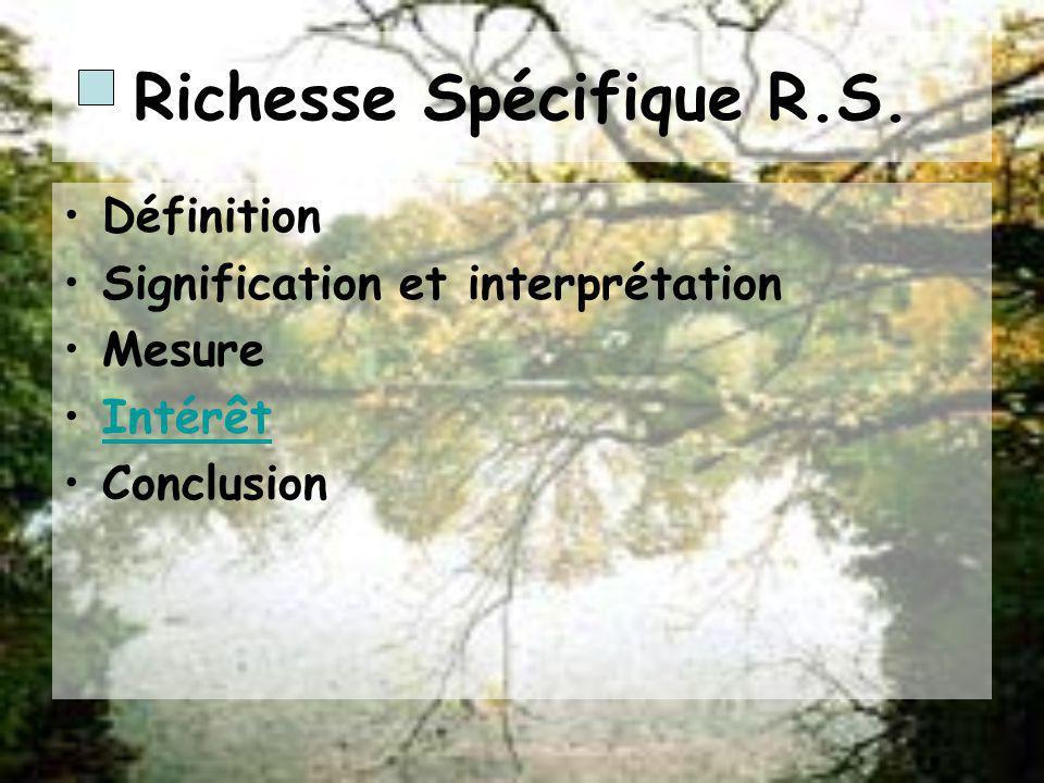 Méthodes théoriques danalyse des variables faunistiques Richesse spécifique R.S. Diversité spécifique H Modèle de distribution dabondance Les indices