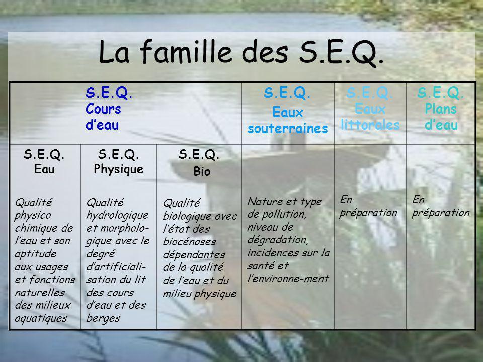 S.E.Q. Eau Qualité de leau S.E.Q. Bio Qualité biologique Usages de leau et du milieu Qualité globale du cours deau S.E.Q. Physique Qualité du milieu p