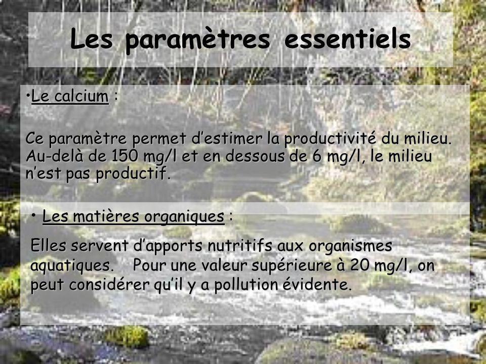 Les paramètres essentiels La conductivité : Mesure de la quantité de sels minéraux dissous. Si cette quantité est trop importante, il sexerce une pres
