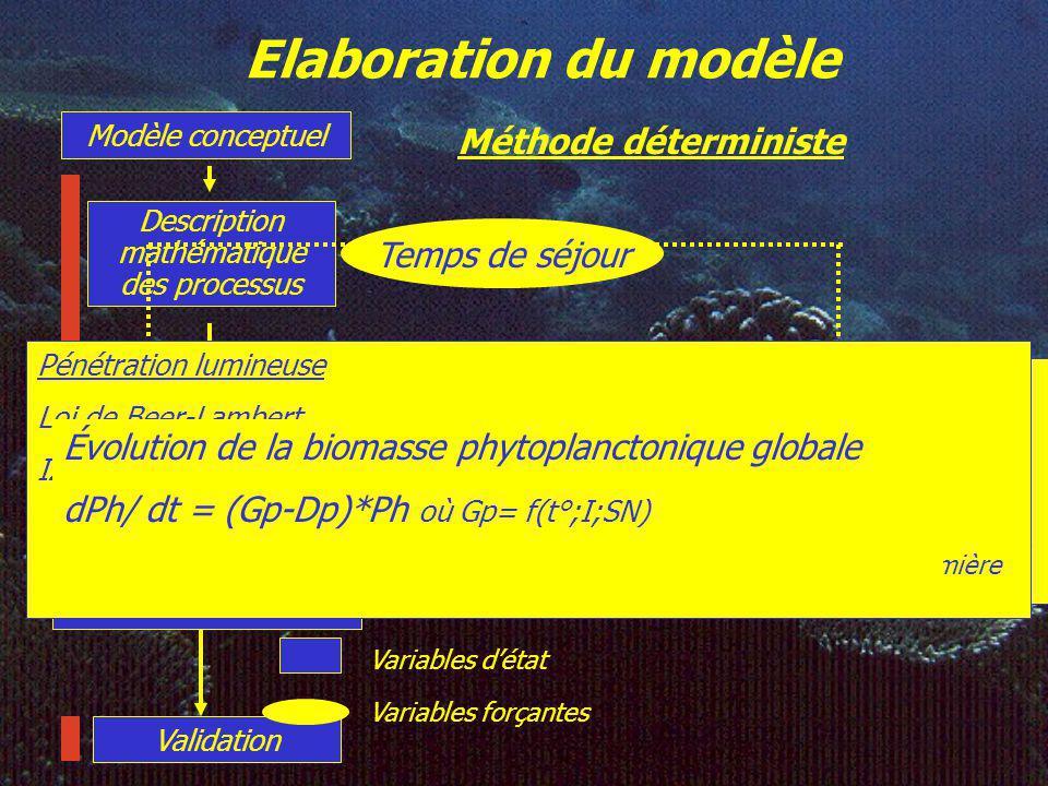 Elaboration du modèle Modèle conceptuel Description mathématique des processus Essais - erreurs Méthode déterministe = analyse de sensibilité Calibration – simulation Paramètre 1 Fonction 1 Paramètre 2 Fonction 2 ……………..