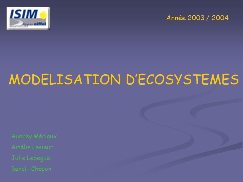 Année 2003 / 2004 MODELISATION DECOSYSTEMES Audrey Mériaux Amélie Lesieur Julie Lebegue Benoît Chapon