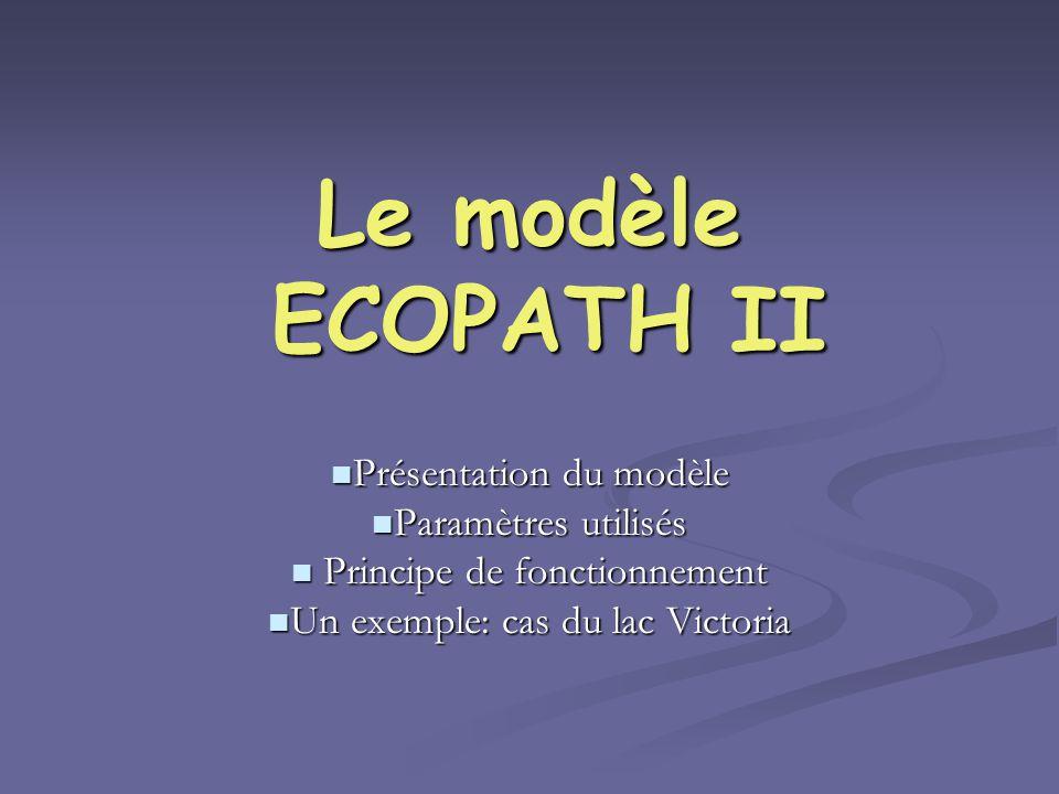 Le modèle ECOPATH II Présentation du modèle Présentation du modèle Paramètres utilisés Paramètres utilisés Principe de fonctionnement Principe de fonc