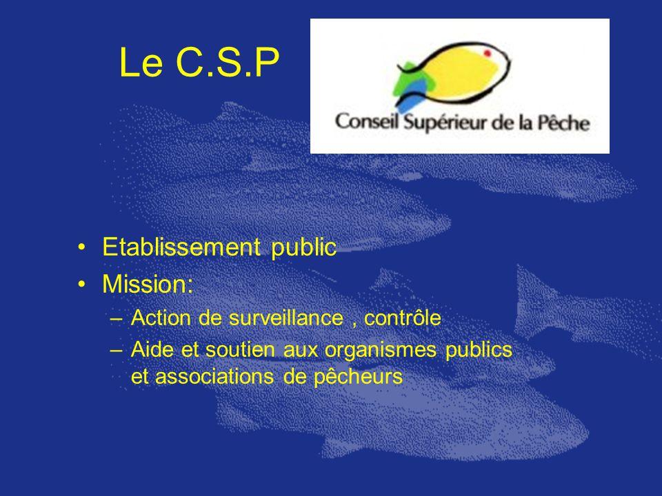 Le C.S.P Etablissement public Mission: –Action de surveillance, contrôle –Aide et soutien aux organismes publics et associations de pêcheurs