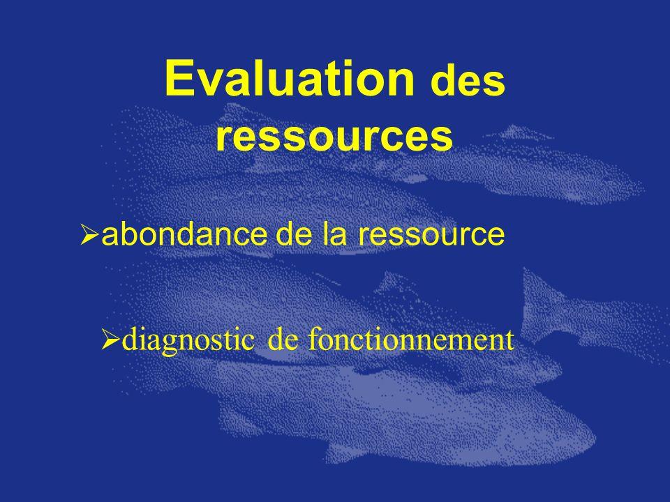 Evaluation des ressources abondance de la ressource diagnostic de fonctionnement