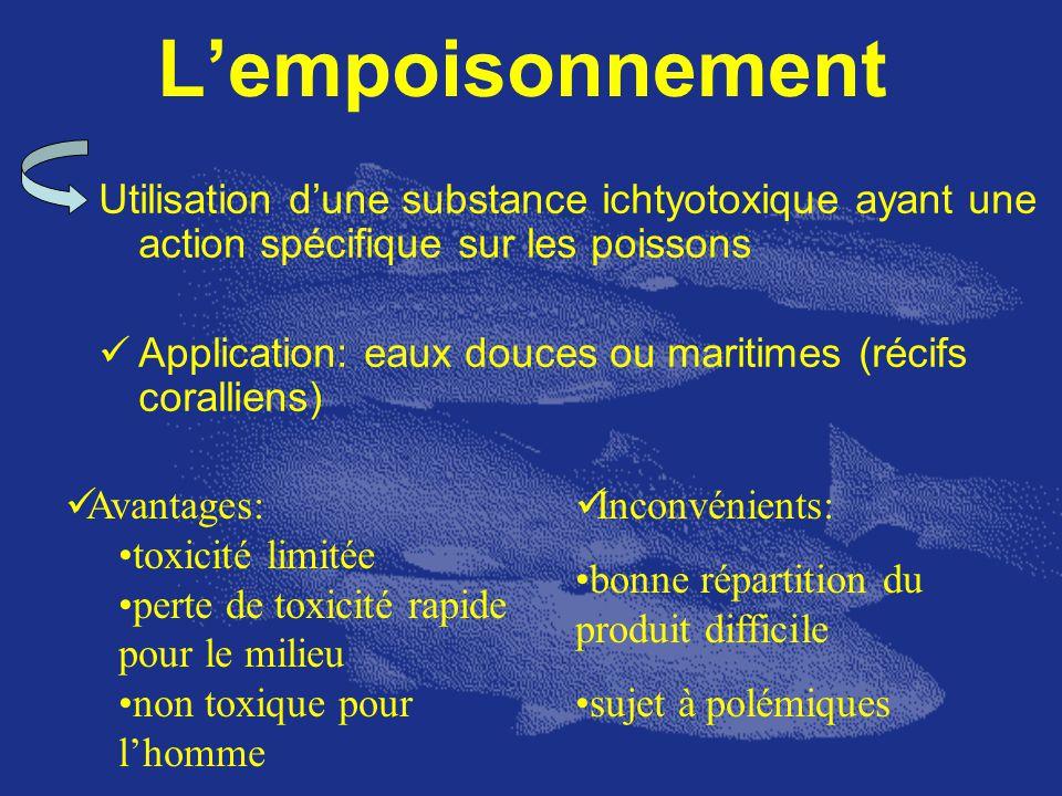 Lempoisonnement Utilisation dune substance ichtyotoxique ayant une action spécifique sur les poissons Application: eaux douces ou maritimes (récifs co