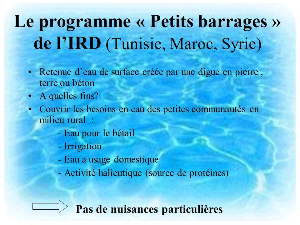 Le programme « Petits barrages » de lIRD (Tunisie, Maroc, Syrie) Retenue deau de surface créée par une digue en pierre, terre ou béton A quelles fins?