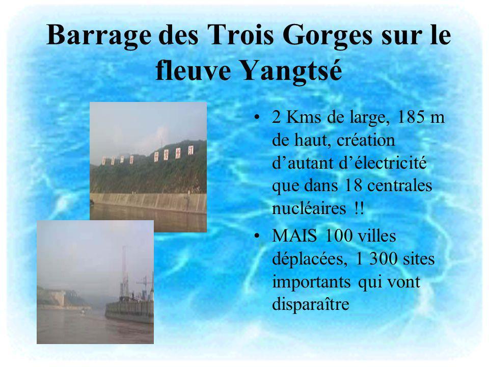 Barrage des Trois Gorges sur le fleuve Yangtsé 2 Kms de large, 185 m de haut, création dautant délectricité que dans 18 centrales nucléaires !! MAIS 1