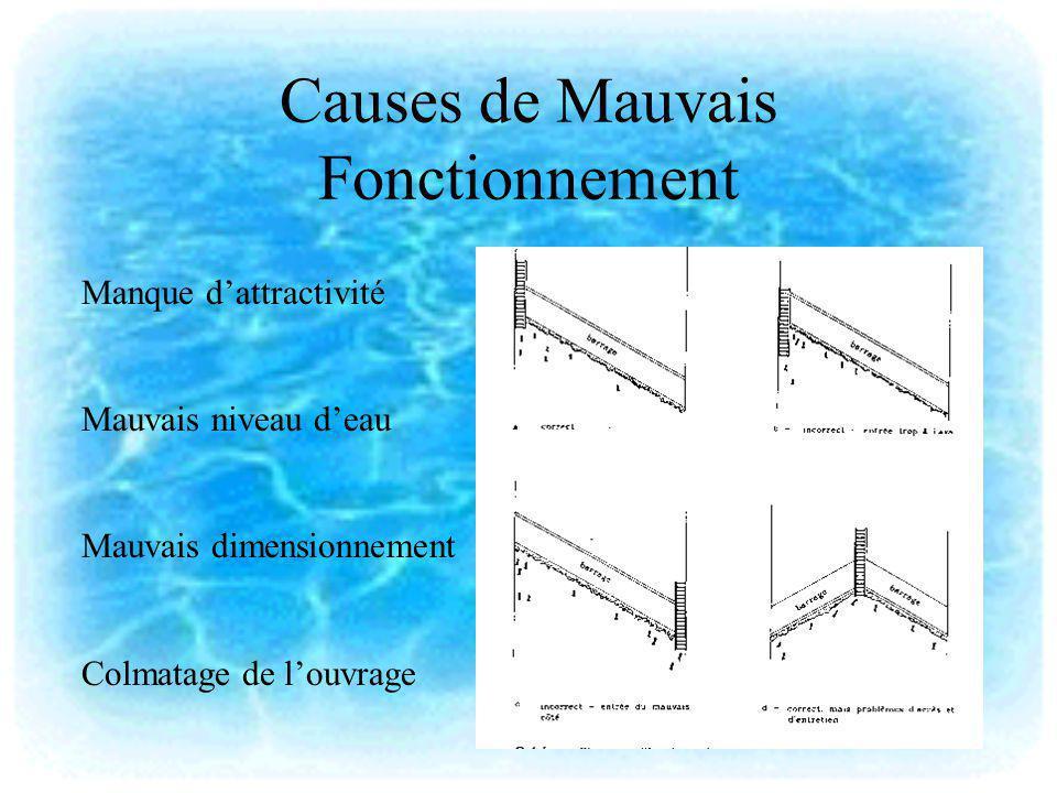 Causes de Mauvais Fonctionnement Manque dattractivité Mauvais niveau deau Mauvais dimensionnement Colmatage de louvrage