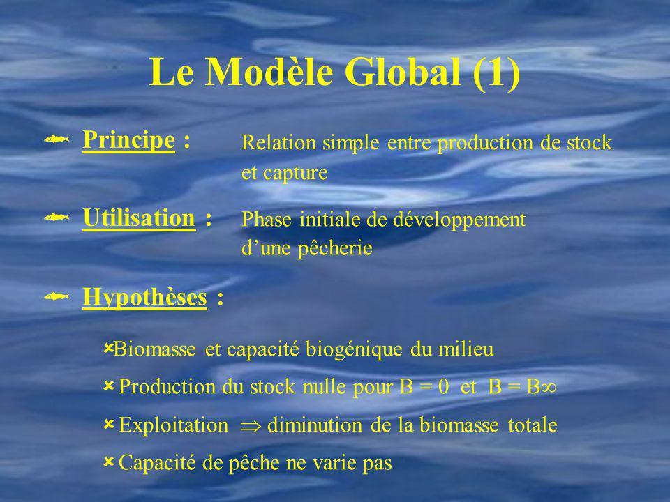 Le Modèle Global (1) Phase initiale de développement dune pêcherie Relation simple entre production de stock et capture Hypothèses : Biomasse et capac
