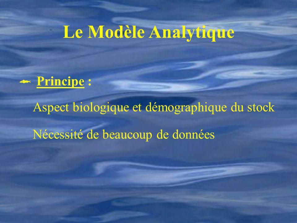 Le Modèle Analytique Principe : Aspect biologique et démographique du stock Nécessité de beaucoup de données