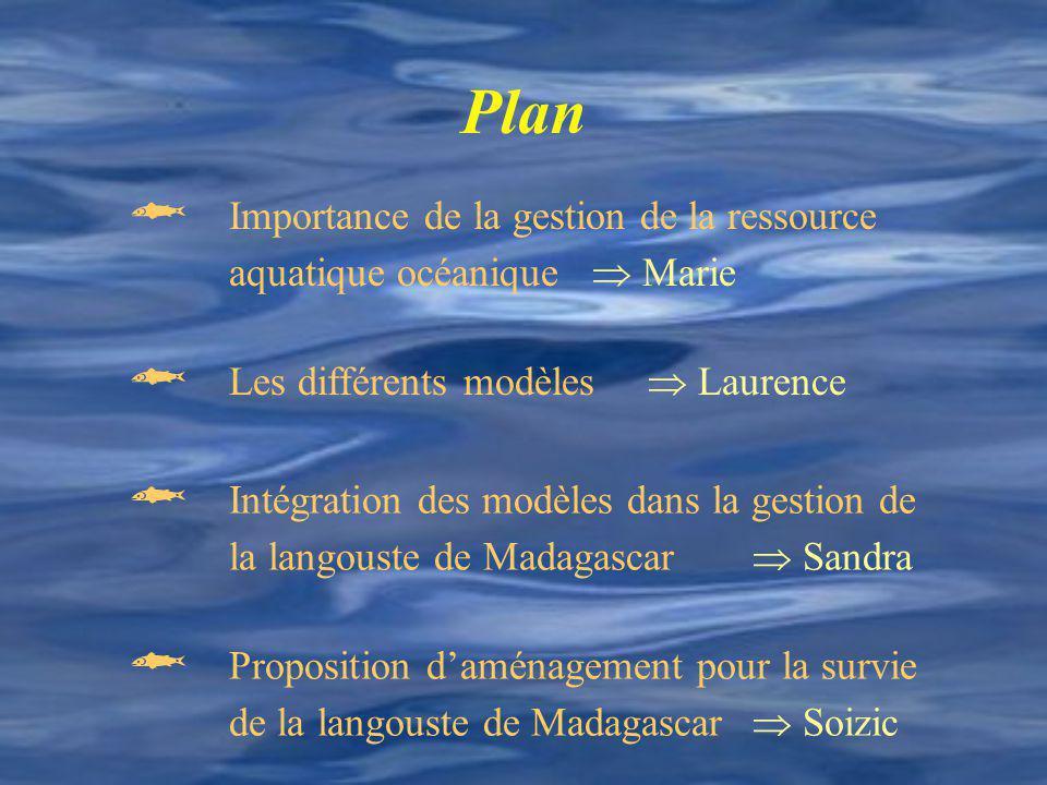 Plan Importance de la gestion de la ressource aquatique océanique Marie Les différents modèles Laurence Intégration des modèles dans la gestion de la