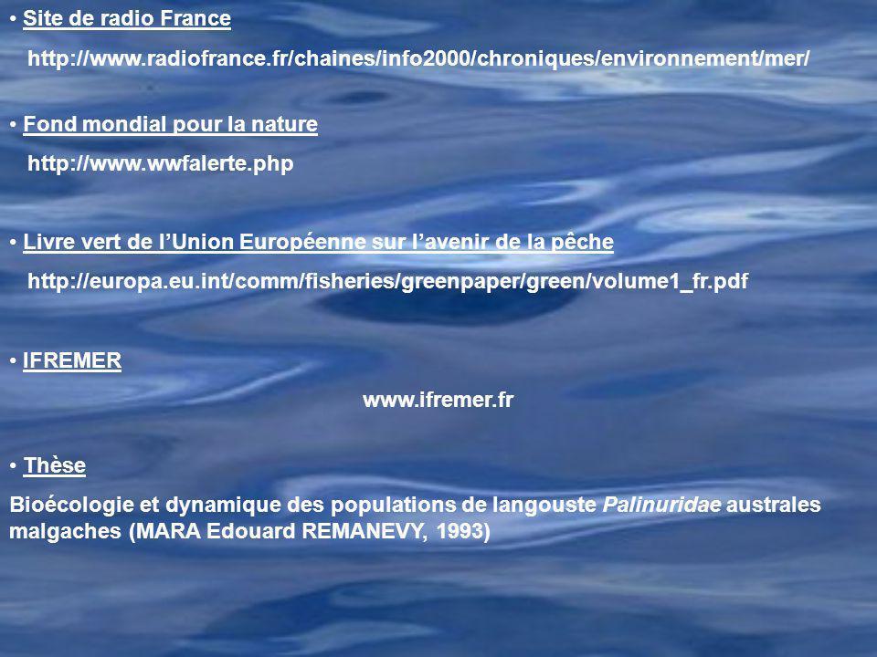 Site de radio France http://www.radiofrance.fr/chaines/info2000/chroniques/environnement/mer/ Fond mondial pour la nature http://www.wwfalerte.php Liv