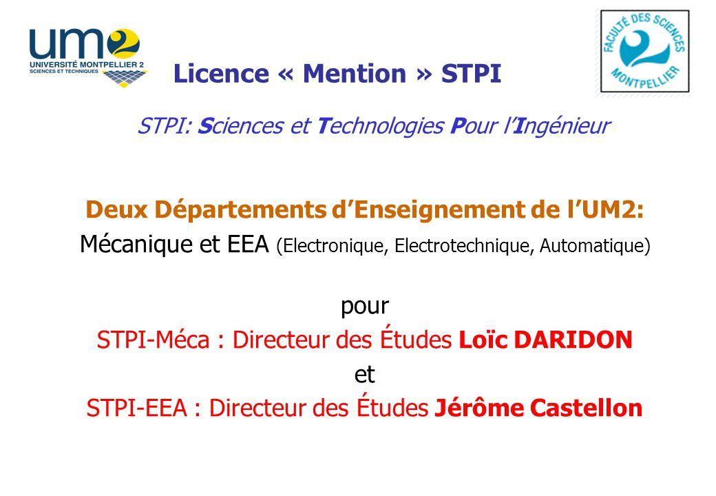 Licence « Mention » STPI Deux Départements dEnseignement de lUM2: Mécanique et EEA (Electronique, Electrotechnique, Automatique) pour STPI-Méca : Dire