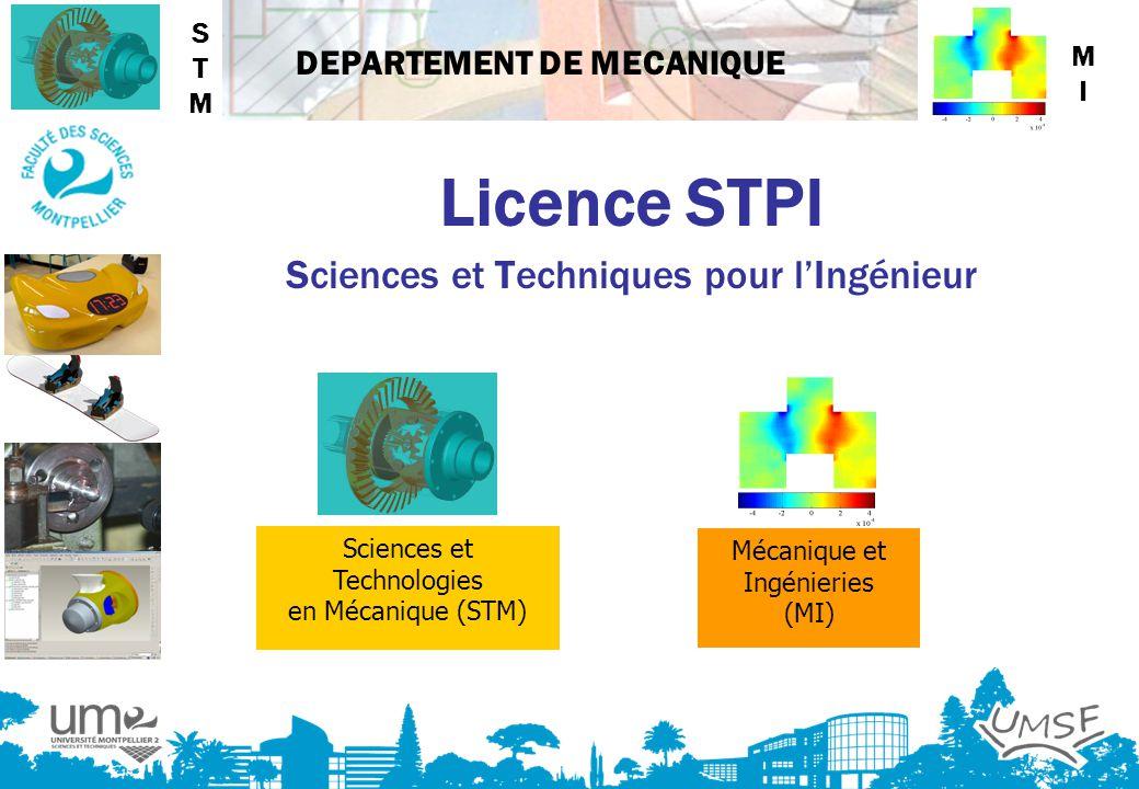 DEPARTEMENT DE MECANIQUE Licence STPI Sciences et Techniques pour lIngénieur Sciences et Technologies en Mécanique (STM) Mécanique et Ingénieries (MI)