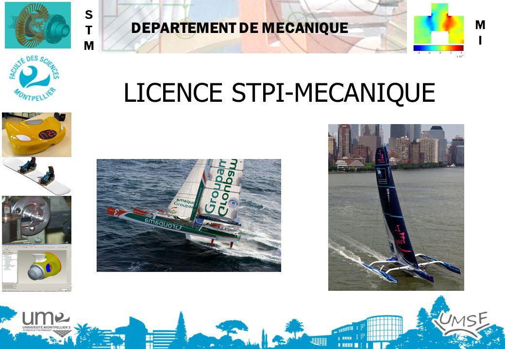 DEPARTEMENT DE MECANIQUE LICENCE STPI-MECANIQUE STMSTM MIMI