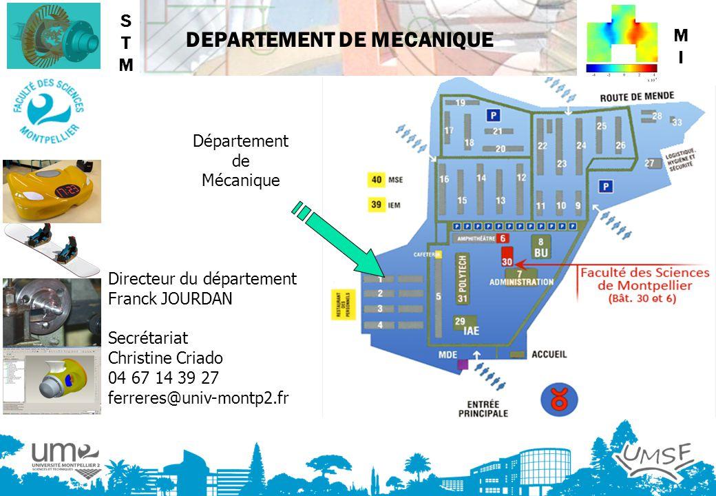 DEPARTEMENT DE MECANIQUE Département de Mécanique Directeur du département Franck JOURDAN Secrétariat Christine Criado 04 67 14 39 27 ferreres@univ-mo