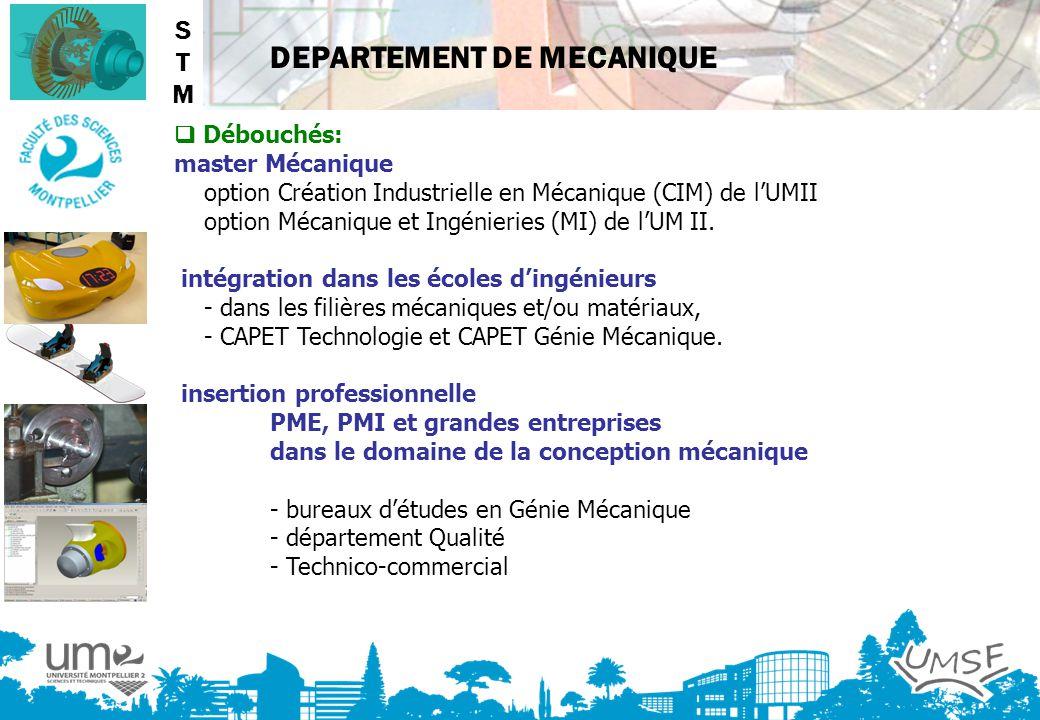 DEPARTEMENT DE MECANIQUE Débouchés: master Mécanique option Création Industrielle en Mécanique (CIM) de lUMII option Mécanique et Ingénieries (MI) de
