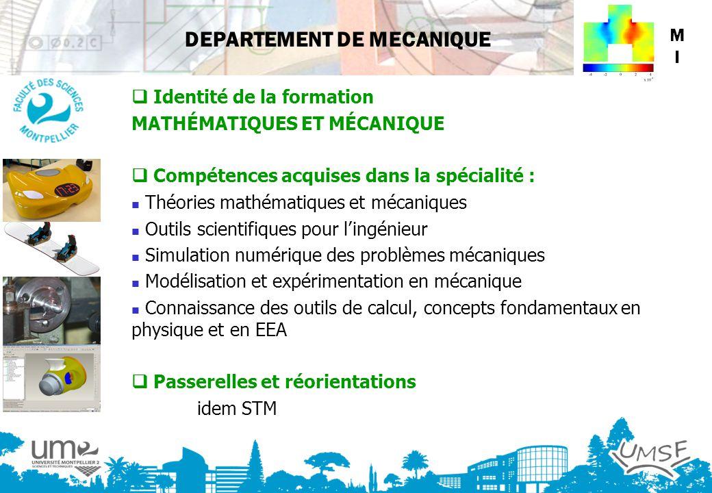 DEPARTEMENT DE MECANIQUE MIMI Identité de la formation MATHÉMATIQUES ET MÉCANIQUE Compétences acquises dans la spécialité : Théories mathématiques et