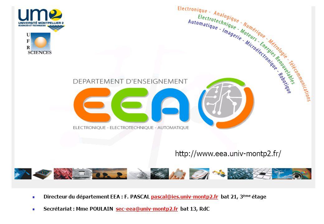 Directeur du département EEA : F. PASCAL pascal@ies.univ-montp2.fr bat 21, 3 ème étagepascal@ies.univ-montp2.fr Secrétariat : Mme POULAIN sec-eea@univ