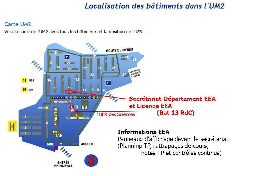 Secrétariat Département EEA et Licence EEA (Bat 13 RdC) Informations EEA Panneaux daffichage devant le secrétariat (Planning TP, rattrapages de cours,