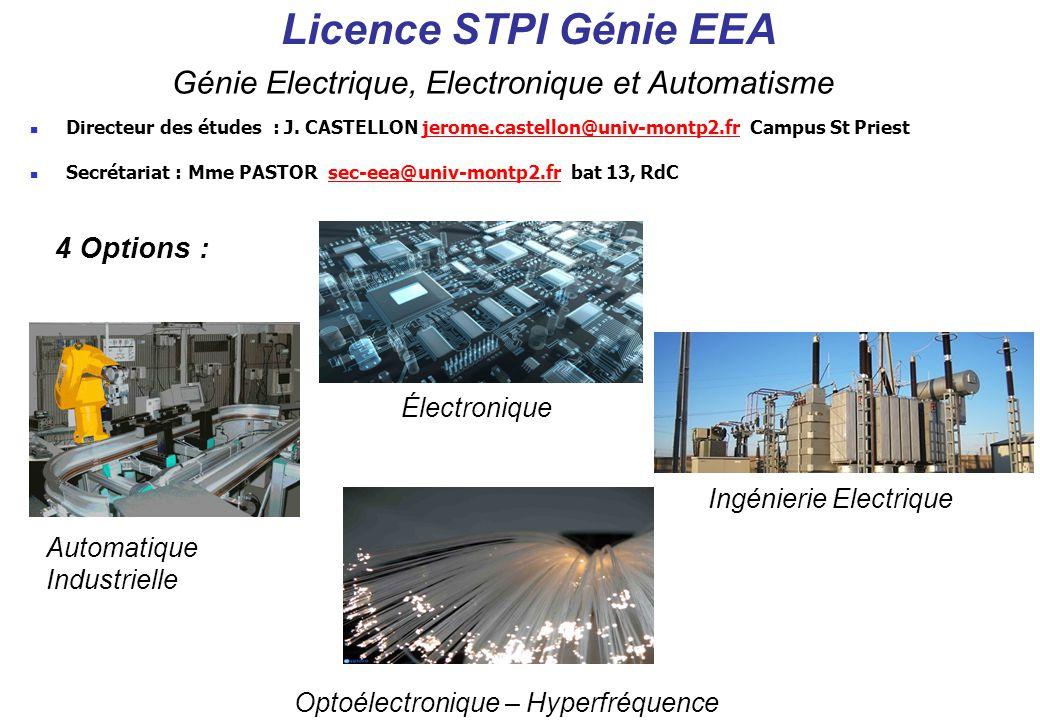 Licence STPI Génie EEA Génie Electrique, Electronique et Automatisme 4 Options : Électronique Ingénierie Electrique Automatique Industrielle Optoélect