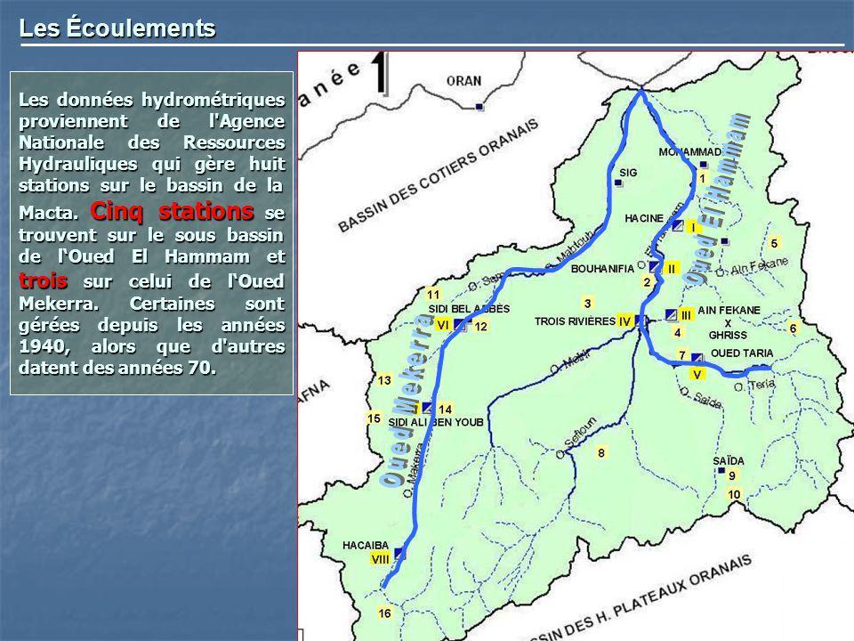 Les Écoulements Les données hydrométriques proviennent de l'Agence Nationale des Ressources Hydrauliques qui gère huit stations sur le bassin de la Ma