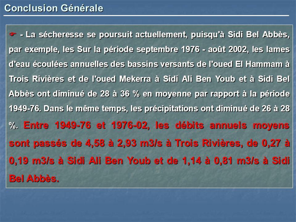 - La sécheresse se poursuit actuellement, puisqu'à Sidi Bel Abbès, par exemple, les Sur la période septembre 1976 - août 2002, les lames d'eau écoulée