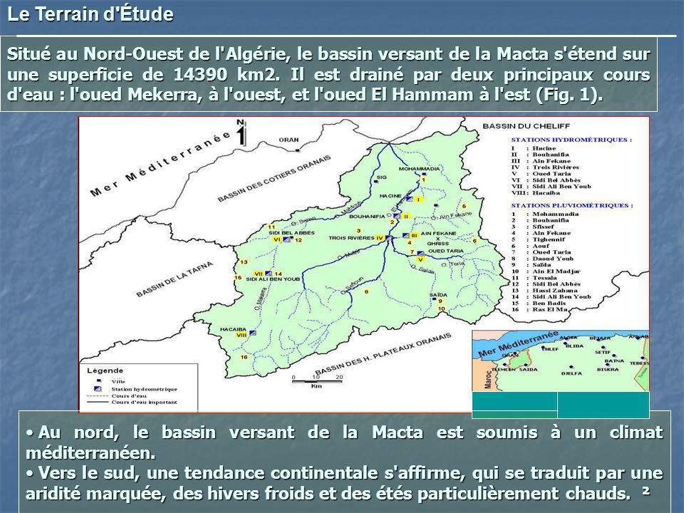 Situé au Nord-Ouest de l'Algérie, le bassin versant de la Macta s'étend sur une superficie de 14390 km2. Il est drainé par deux principaux cours d'eau