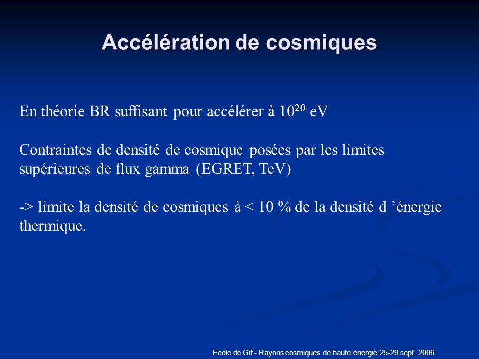 Ecole de Gif - Rayons cosmiques de haute énergie 25-29 sept. 2006 Accélération de cosmiques En théorie BR suffisant pour accélérer à 10 20 eV Contrain