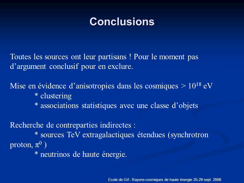 Ecole de Gif - Rayons cosmiques de haute énergie 25-29 sept. 2006 Conclusions Toutes les sources ont leur partisans ! Pour le moment pas dargument con