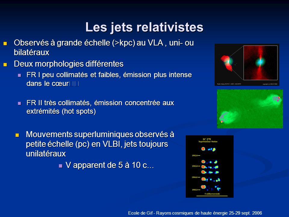 Ecole de Gif - Rayons cosmiques de haute énergie 25-29 sept. 2006 Les jets relativistes Observés à grande échelle (>kpc) au VLA, uni- ou bilatéraux Ob