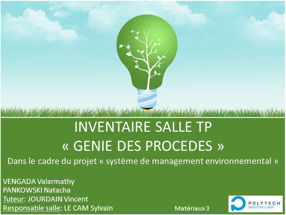INVENTAIRE SALLE TP « GENIE DES PROCEDES » Dans le cadre du projet « système de management environnemental » VENGADA Valarmathy PANKOWSKI Natacha Tute