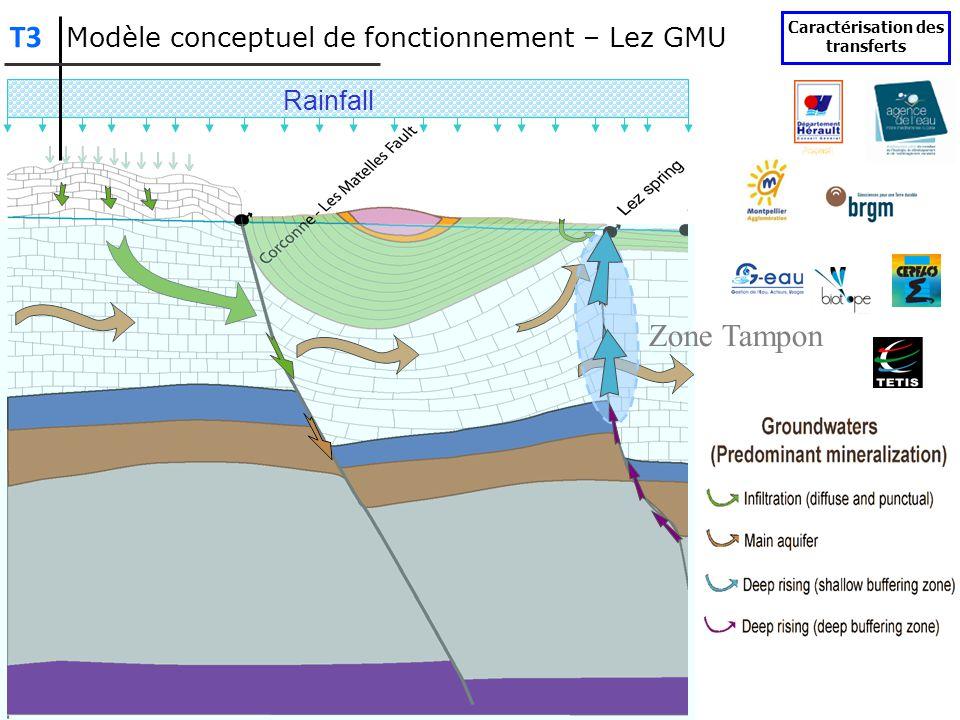 Rainfall Zone Tampon Modèle conceptuel de fonctionnement – Lez GMU Caractérisation des transferts T3