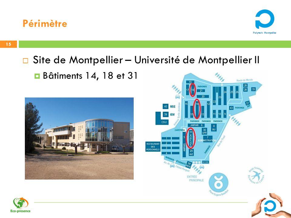Polytech Montpellier Périmètre 15 Site de Montpellier – Université de Montpellier II Bâtiments 14, 18 et 31