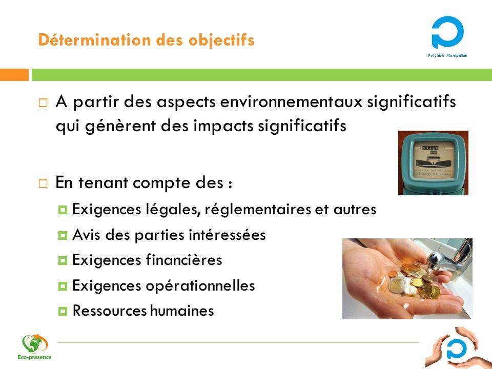 Polytech Montpellier Détermination des objectifs A partir des aspects environnementaux significatifs qui génèrent des impacts significatifs En tenant