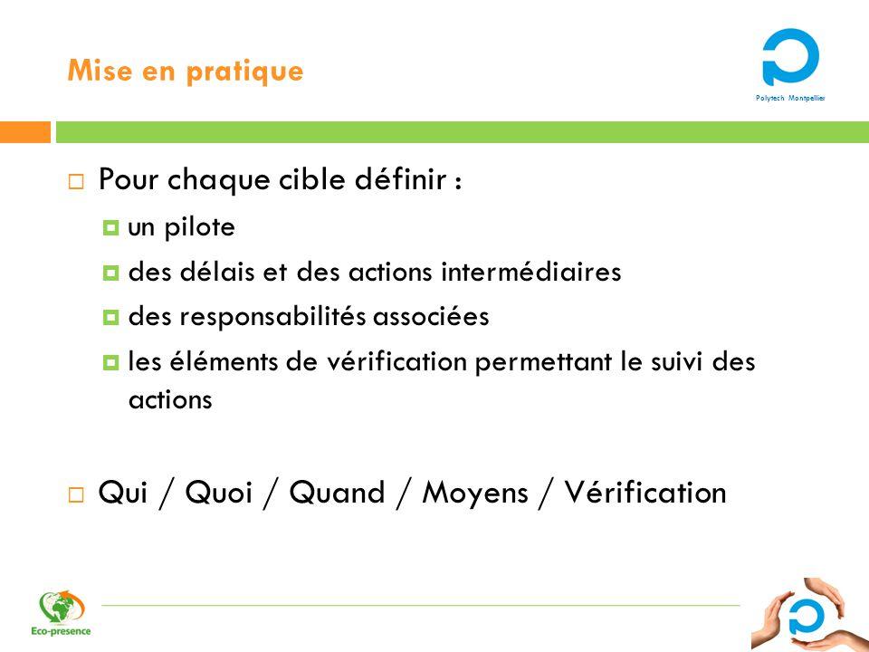 Polytech Montpellier Mise en pratique Pour chaque cible définir : un pilote des délais et des actions intermédiaires des responsabilités associées les
